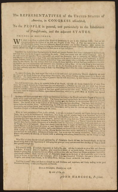 The representatives of the United States of America, in Congress assembled, to the people in general, and particularly to the inhabitants of Pennsylvania, and the adjacent states.