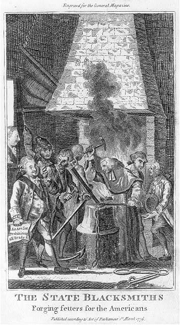 The state blacksmiths forging fetters for the Americans