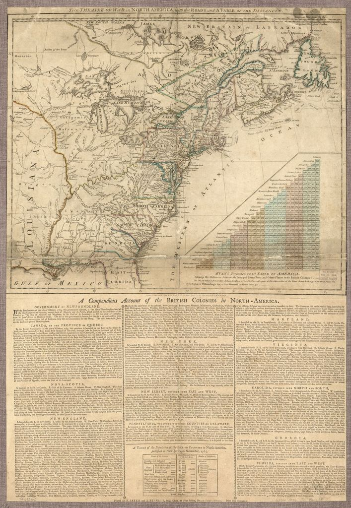 The Theatre of war in North America, with the roads and a table of the distances.