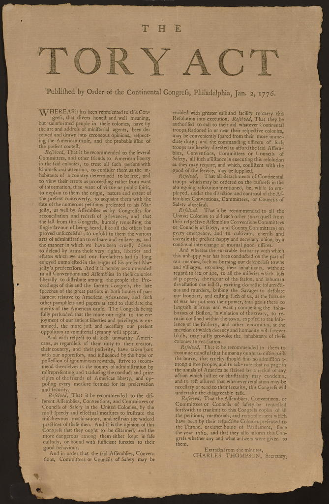 The Tory Act : published by order of the Continental Congress, Philadelphia, Jan. 2, 1776.