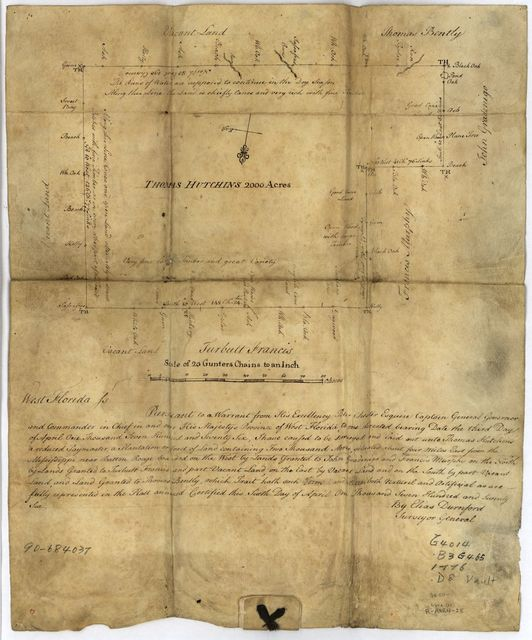 [Thomas Hutchins' land grant and map to 2000 acres in West Florida] /