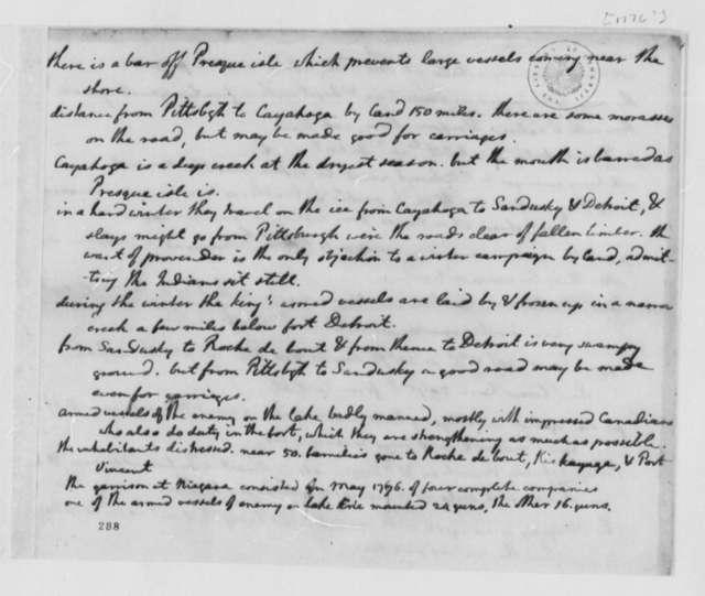 Thomas Jefferson, 1776, Memorandum on British Forts in the West