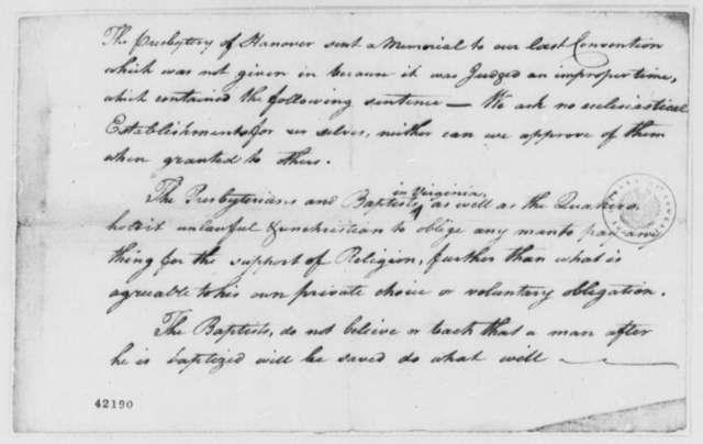 Thomas Jefferson, 1776, Memorandum on Virginia Presbytery of Hanover's Memorial on General Assessment