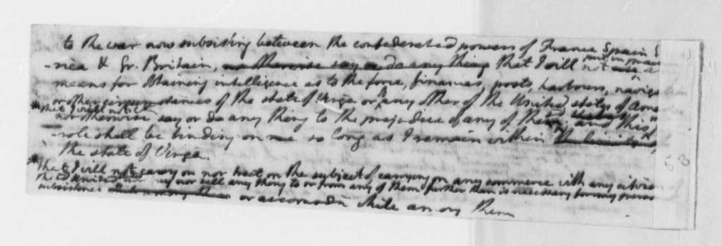 Thomas Jefferson, August 24, 1776, Draft for a Parole of Honor