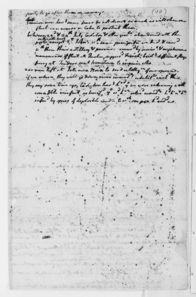 Thomas Jefferson, August 5, 1776, Memorandum on Fleet Movements