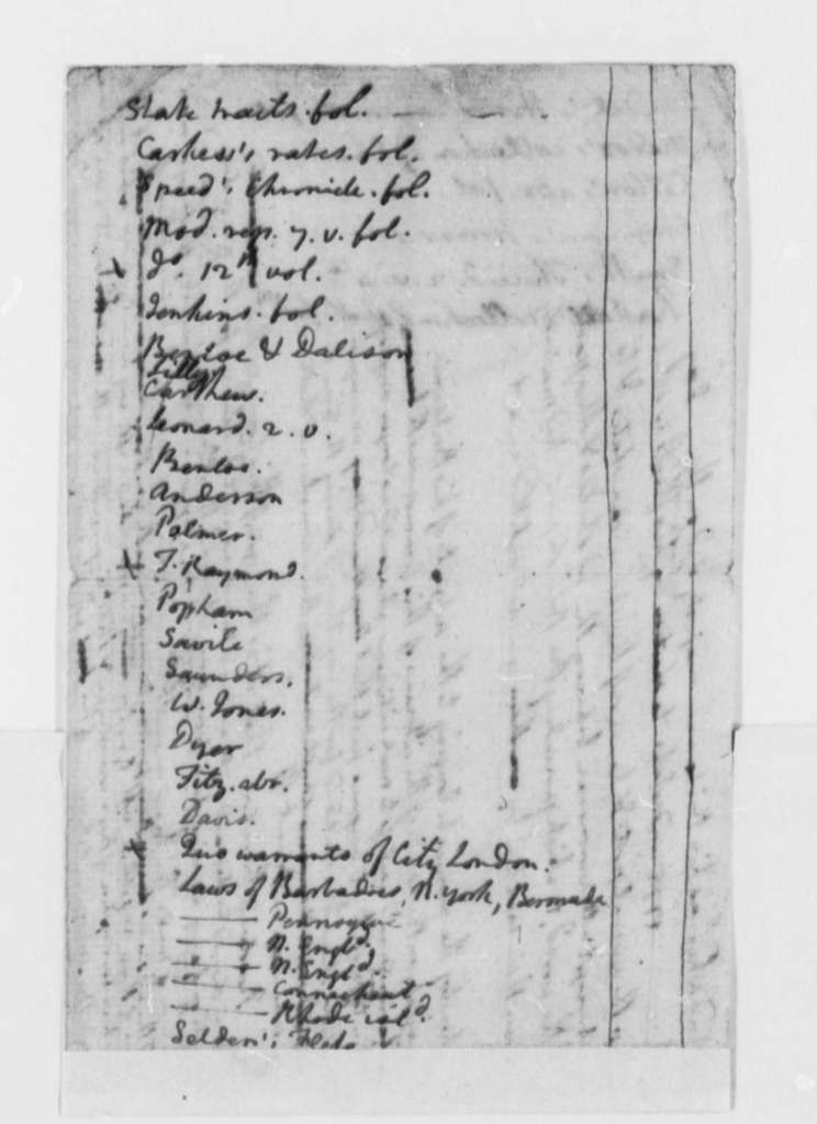 Thomas Jefferson, December 6, 1776, Draft of Continental Congress Resolution on British Subjects; with Law Notes