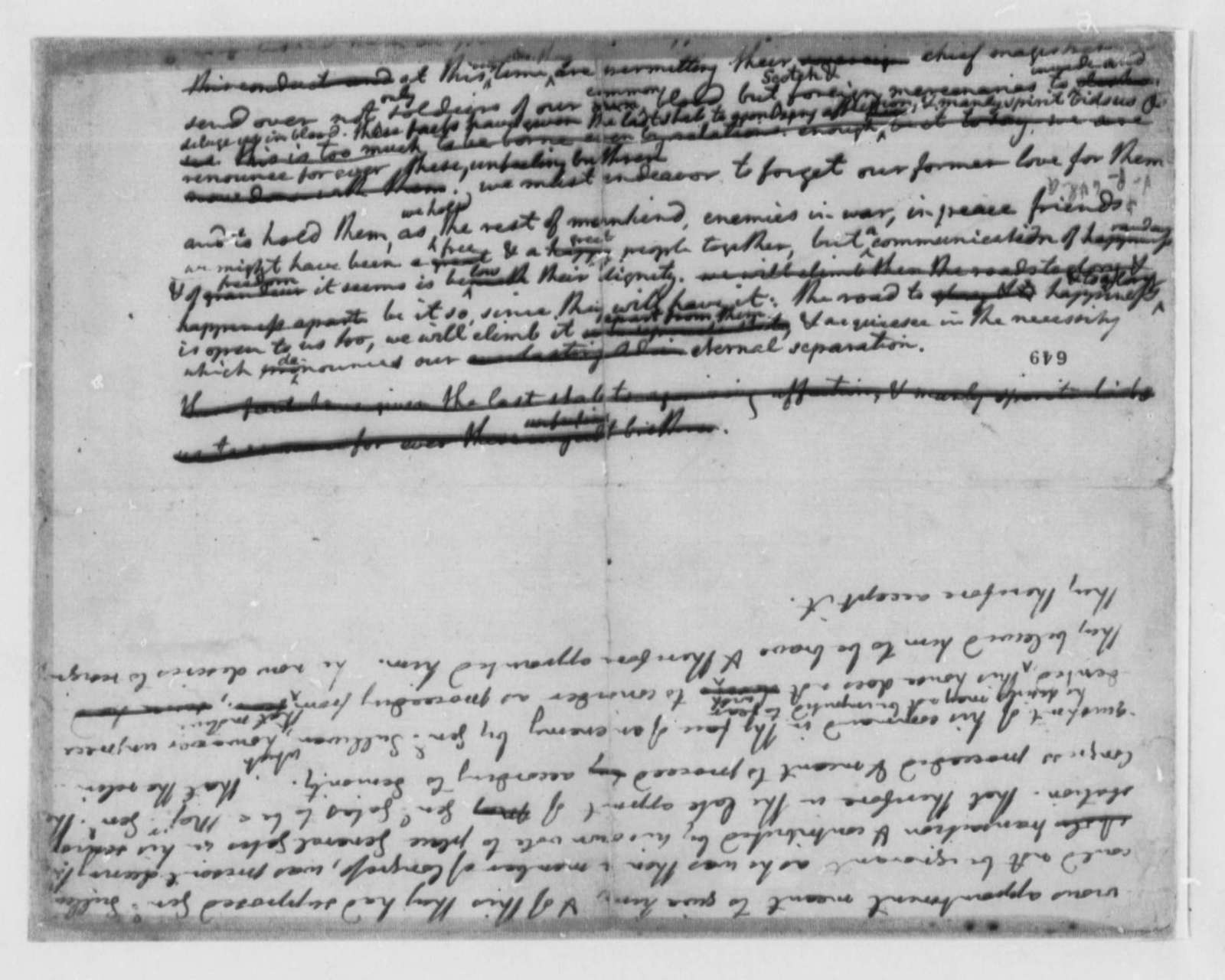 Thomas Jefferson, June 1776, Draft Fragment of Declaration of Independence