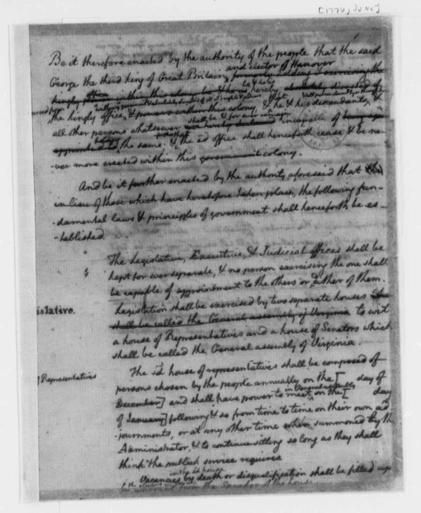 Thomas Jefferson, June 1776, Drafts and Notes on the Virginia Constitution; Plans for Two Houses