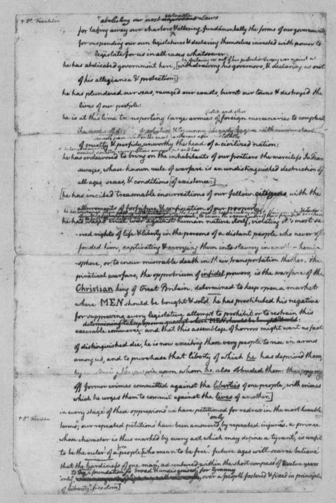 Thomas Jefferson, June 1776, Rough Draft of the Declaration of Independence