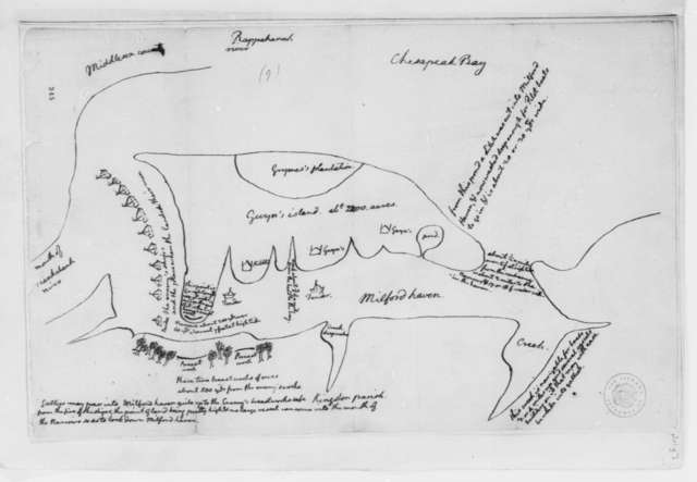 Thomas Jefferson, June-July 1776, Map of Action at Gwyn's Island, Chesapeake Bay