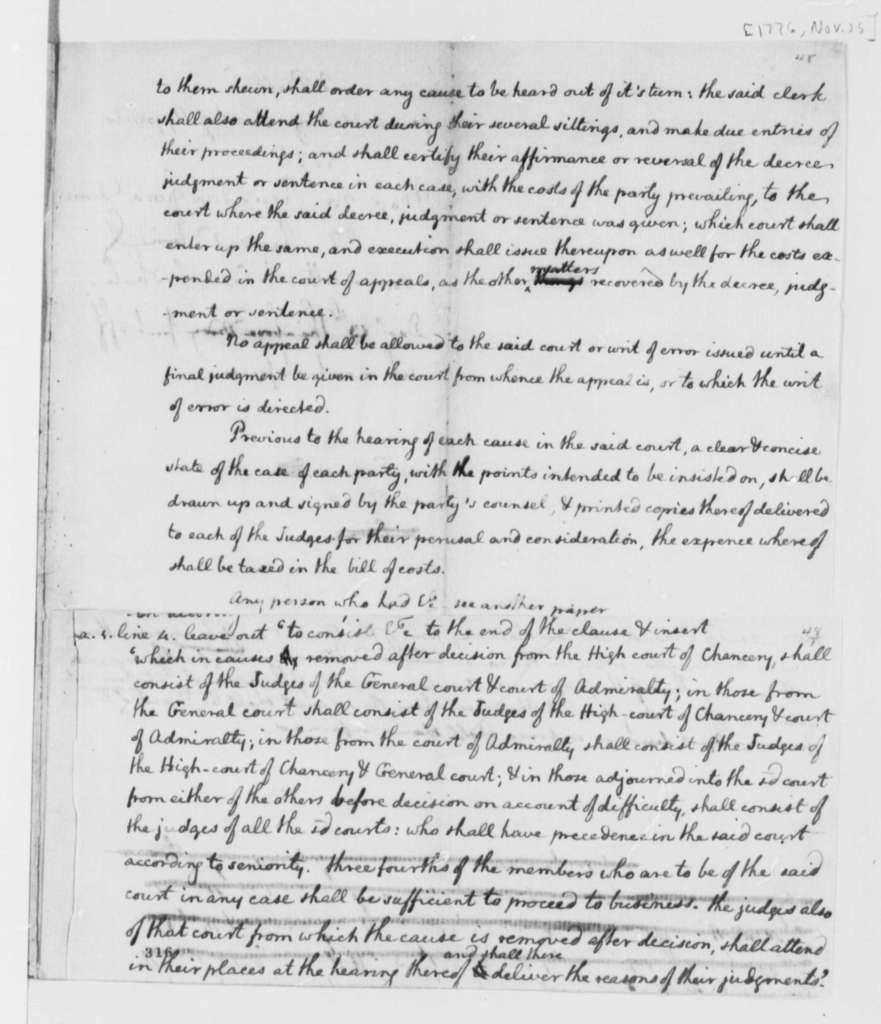 Thomas Jefferson, November 25, 1776, Draft of Bill Establishing Virginia Court of Appeals