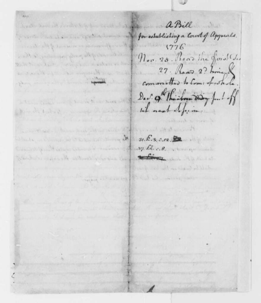 Thomas Jefferson, November 25, 1776, Draft of Bill Establishing Virginia Court of Appeals