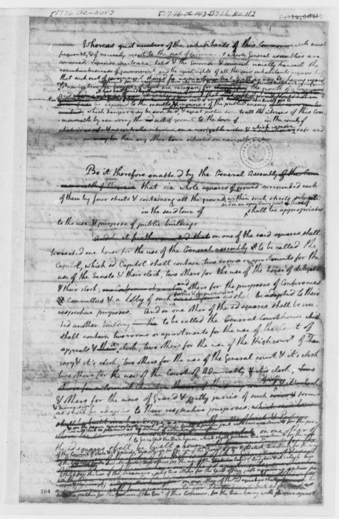Thomas Jefferson, October 1776, Draft of Bill to Move the Virginia Seat of Government; Capitol; Courthouse