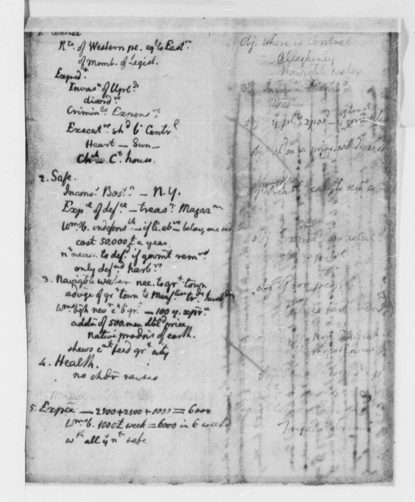 Thomas Jefferson, October 1776, Notes on Bill to Move the Virginia Seat of Government; Capitol; Courthouse