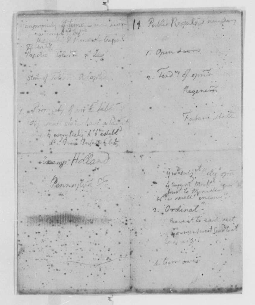 Thomas Jefferson, October 1776, Notes on Virginia Laws and Statutes Covering the Church of England