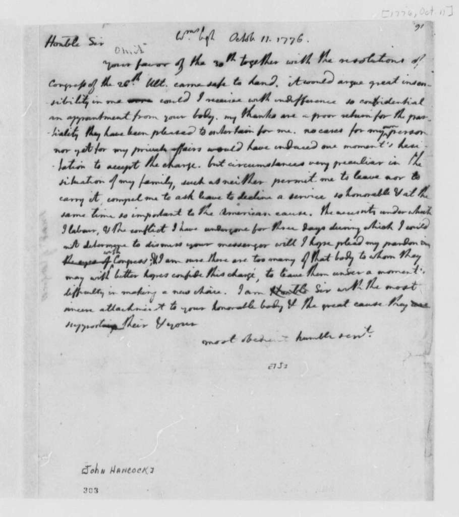 Thomas Jefferson to John Hancock, October 11, 1776, Declines Appointment as Commissioner to France