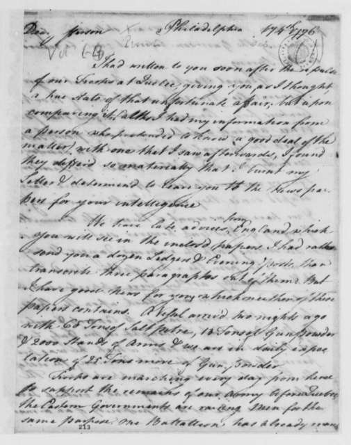 Thomas Nelson Jr. to Thomas Jefferson, February 4, 1776, Canadian Campaign; Arrival of Saltpeter, Gun Powder, and Arms