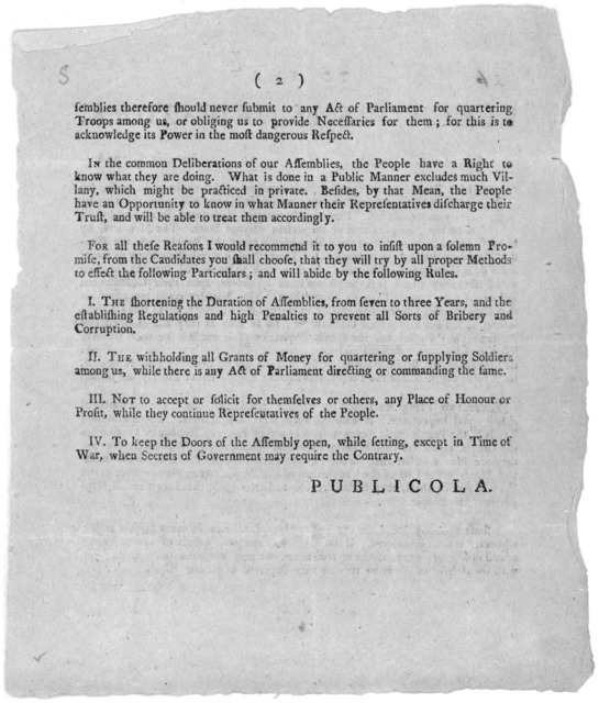 To the electors of New-York. January 6, 1776. Fellow-Citizens. There are several important reformations which ought to be made, for our future security, and which if we are wise, we will take this opportunity to provide for ... [Signed] Publicol