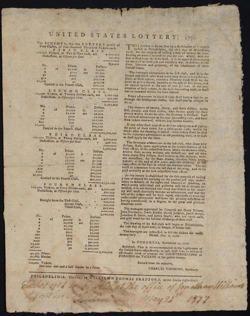 United States lottery, 1776 : The scheme is, that this lottery consist of four classes, of one hundred thousand tickets each ...