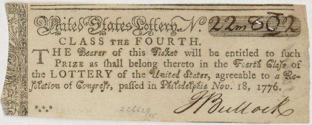 United States Lottery. No. [blank] class the fourth : The bearer of this ticket will be entitled to such prize as shall belong thereto in the fourth class of the Lottery of the United States, agreeable to a resolution of Congress, passed in Philadelphia Nov. 18, 1776.