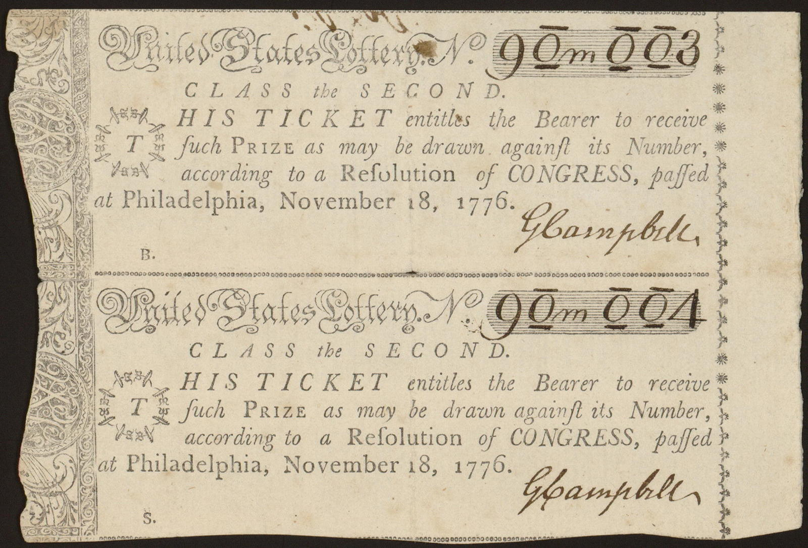 United States Lottery. No. [blank] class the second : This ticket entitles the bearer to receive such prize as may be drawn against its number, according to a resolution of Congress, passed at Philadelphia, November 18, 1776.