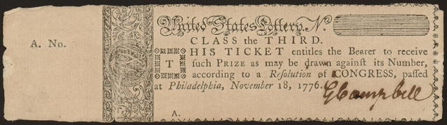 United States Lottery. No. [blank] class the third : This ticket entitles the bearer to receive such prize as may be drawn against its number, according to a resolution of Congress, passed at Philadelphia, November 18, 1776.