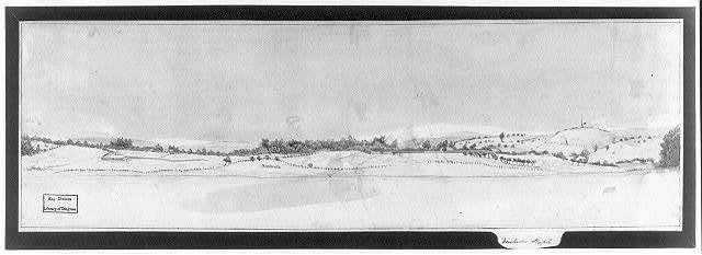 [View of fortifications around Dorchester, with the Dorchester steeple in the distance on the right]