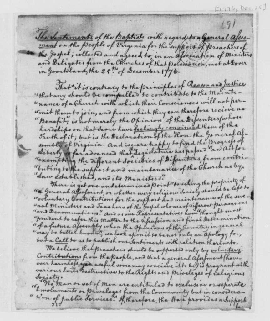 Virginia Baptist Association to Virginia General Assembly, December 25, 1776, Petition Against General Assessment