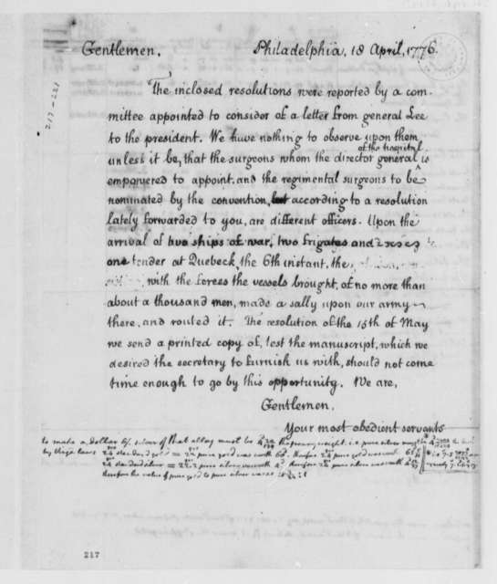 Virginia Delegates in Continental Congress to Virginia Convention, April 18, 1776, Appointment of Surgeons; Canadian Campaign; Notation on Coin Production