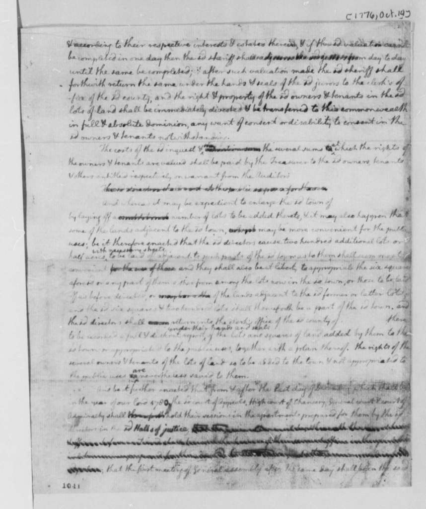 Virginia General Assembly, October 14, 1776, Draft of Bill for the Removal of the Seat of Government