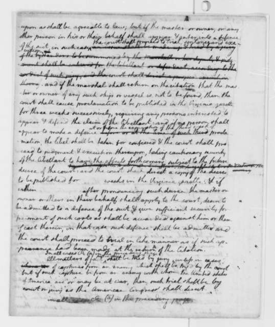 Virginia Laws and Statues, 1776, Draft of Bill Establishing Admiralty Court, Part 1