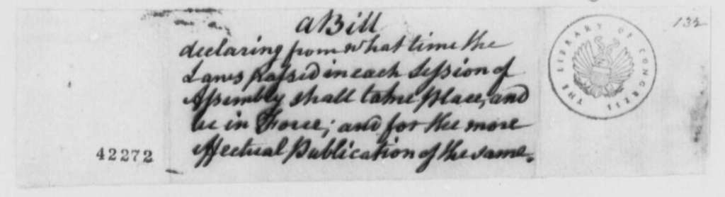 Virginia Laws and Statutes, 1776, Bill Setting Time for Laws to Take Effect