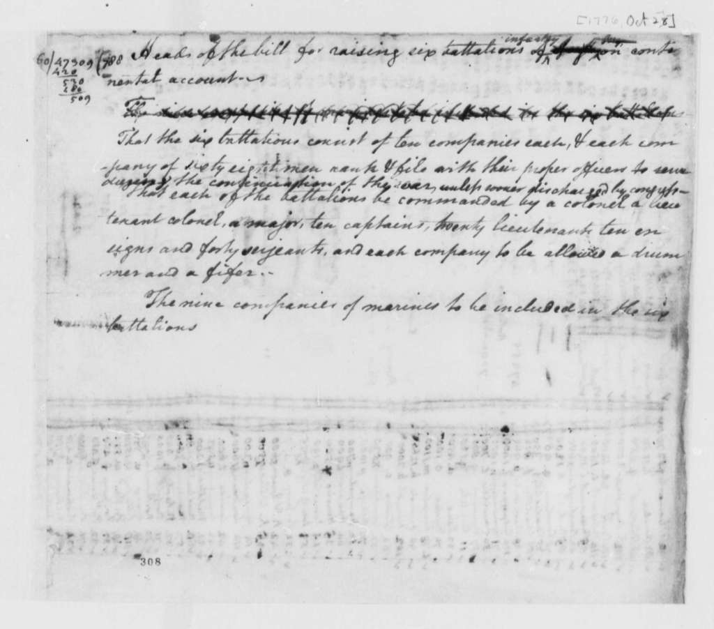 Virginia Laws and Statutes, October 28, 1776, Addition to Bill to Raise Six Infantry Battalions; with Table of Officers and Troops by County