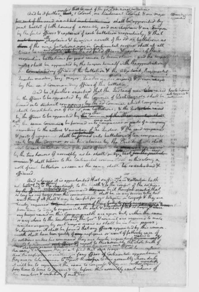 Virginia Laws and Statutes, October 28, 1776, Draft of Bill to Raise Six Infantry Battalions