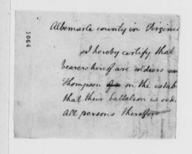 "Virginia Militia, 1776, Roll of Albemarle County ""Volunteers, Draughts, and Substitutes"""