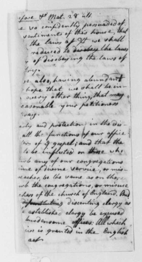 Virginia Presbyterians to Virginia Legislature, 1776, Petition for Freedom of Religious Practice