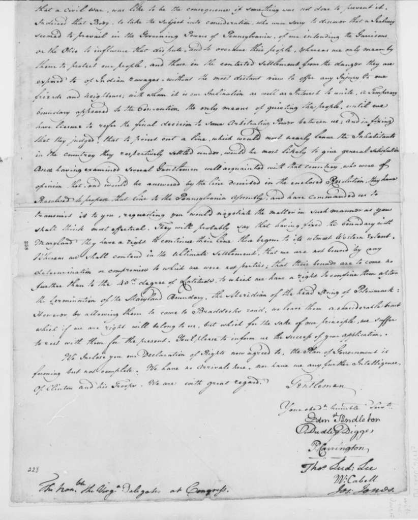 Virginia Safety Committee to Virginia Delegates in Continental Congress, June 17, 1776, Pennsylvania-Virginia Boundary Dispute