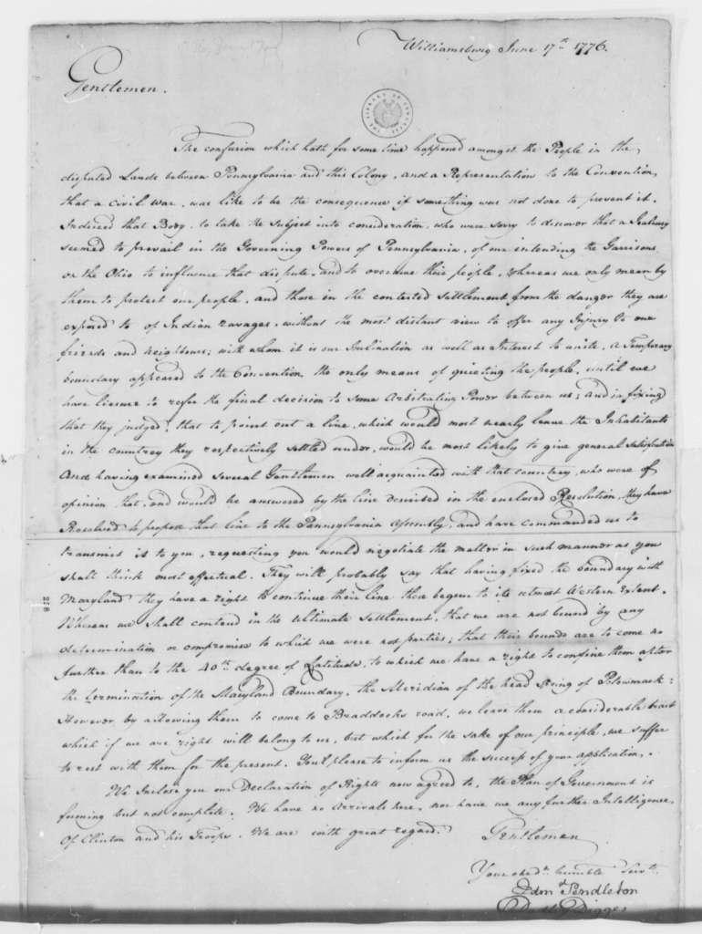 Virginia Safety Committee to Virginia Delegates in Continental Congress, June 17, 1776, Pennsylvania-Virginia Boundary Dispute