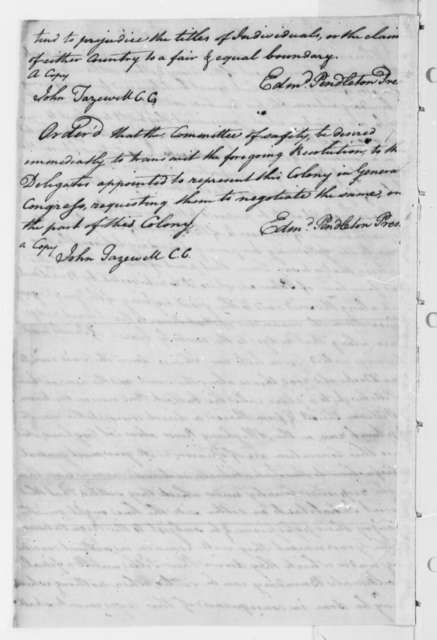 Virginia Safety Committee to Virginia Delegates in Continental Congress, June 15, 1776, Resolutions on Pennsylvania-Virginia Boundary Dispute