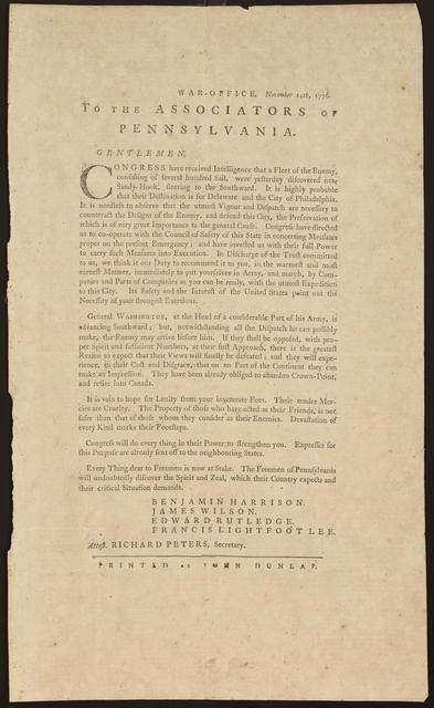 War-Office, November 14, 1776. To the Associators of Pennsylvania : Gentlemen, Congress have received intelligence that a fleet of the enemy, consisting of several hundred sail, were yesterday discovered near Sandy-Hook, steering to the southward. ...
