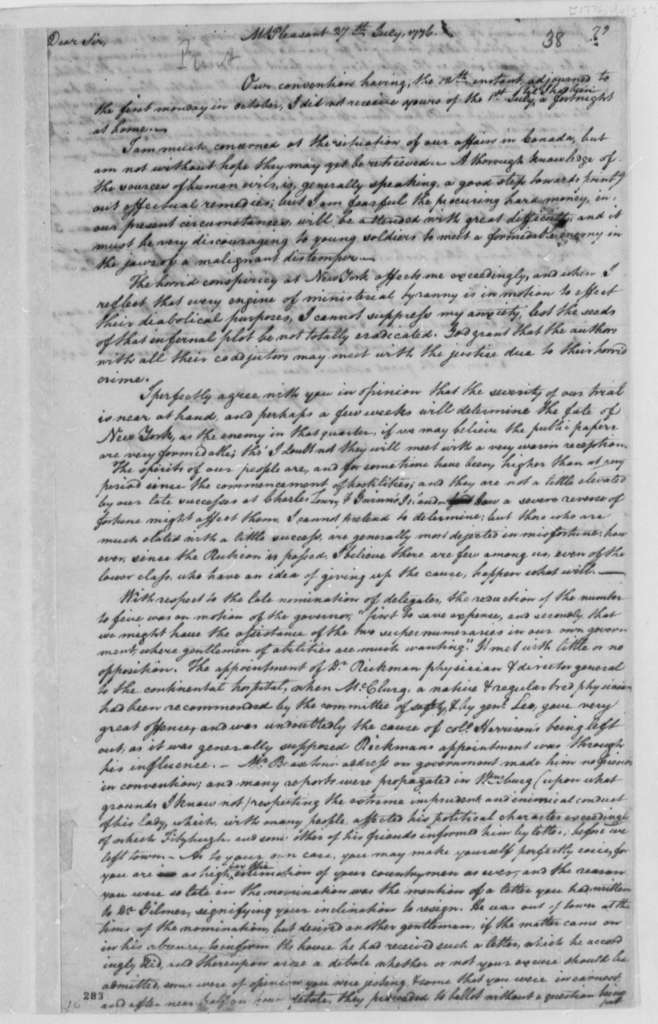 William Fleming to Thomas Jefferson, July 27, 1776, Comments on Canadian Campaign, New York Politics, and Virginia Convention