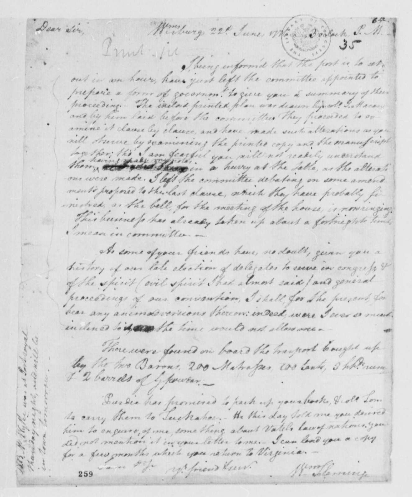 """William Fleming to Thomas Jefferson, June 22, 1776, Comment on Proceedings of the Virginia House Committee to Prepare """"A Plan of Government"""""""