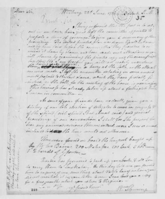 "William Fleming to Thomas Jefferson, June 22, 1776, Comment on Proceedings of the Virginia House Committee to Prepare ""A Plan of Government"""