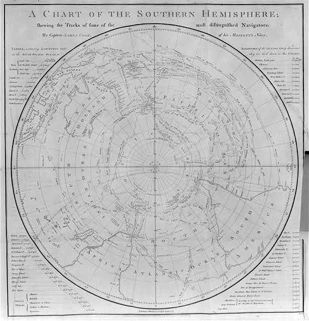 A Chart of the Southern Hemisphere showing the tracks of some of the most distinguished navigators, by Capt. James Cook