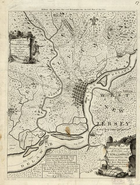 A map of that part of Pensylvania now the principle [sic] seat of war in America, wherein may be seen the situation of Philadelphia, Red Bank, Mud Island, & Germantown.