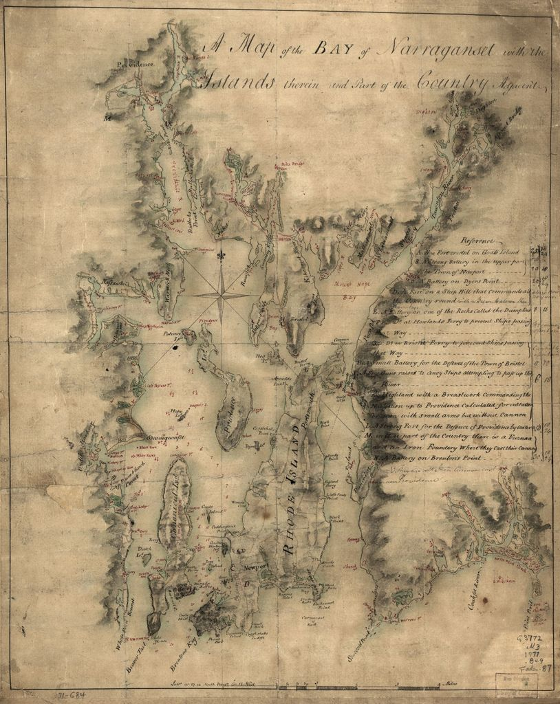 A map of the bay of Narraganset with the islands therein and part of the country adjacent.