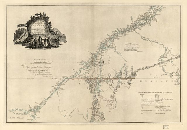 A map of the inhabited part of Canada from the French surveys, with the frontiers of New York and New England;