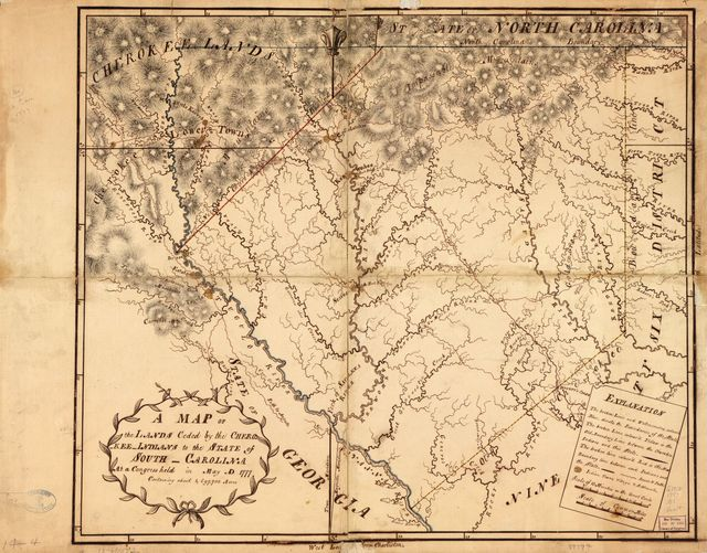 A Map of the lands ceded by the Cherokee Indians to the State of South-Carolina at a congress held in May, A.D. 1777; containing about 1,697,700 acres.