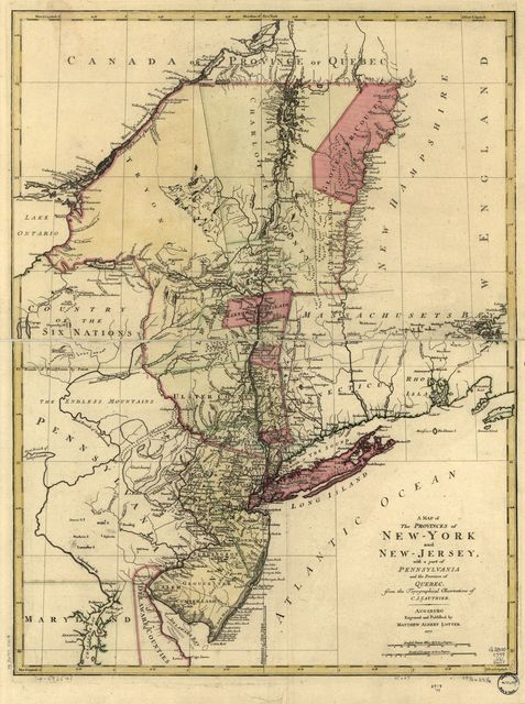 A map of the provinces of New-York and New Jersey, with a part of Pennsylvania and the Province of Quebec.