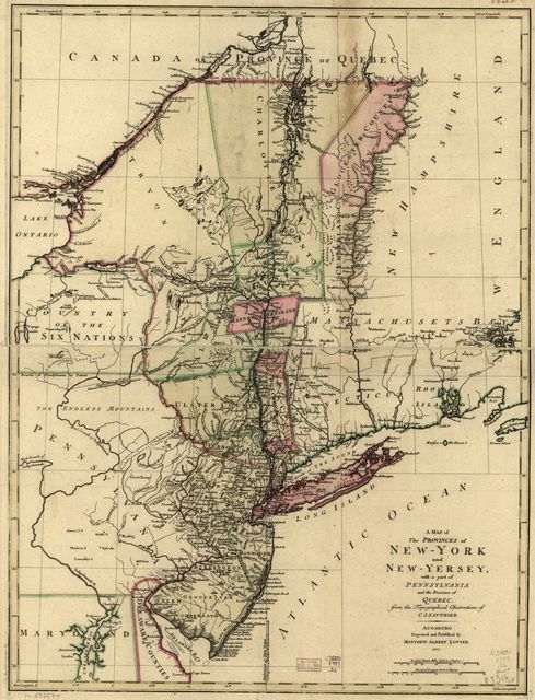A map of the provinces of New-York and New-Yersey, with a part of Pennsylvania and the Province of Quebec.